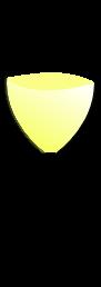 Sklenice na bílé víno má kalich ve tvaru květu tulipánu, u vrcholu se zužuje