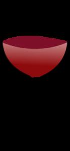 Sklenice na červené víno má větší objem, cibulovitý tvar a otevřené hrdlo.